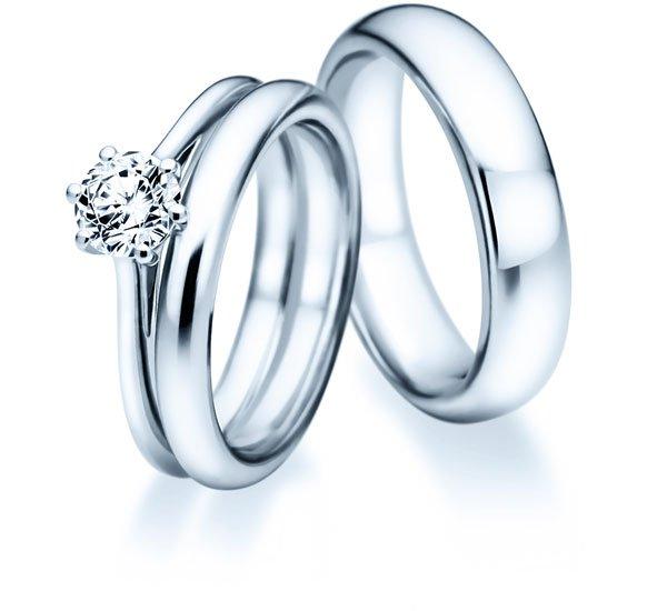 Vorsteckringe mit Diamant und Eheringen