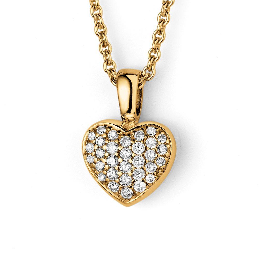 Anhänger Sparkling Heart Big in 14K Gelbgold, ohne Kette online kaufen