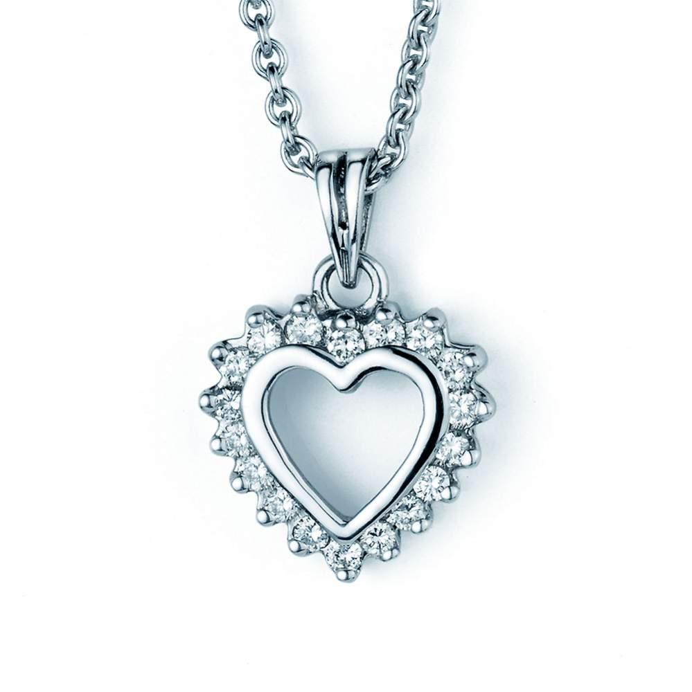 Anhänger Sparkling Flower Heart in Platin, ohne Kette online kaufen