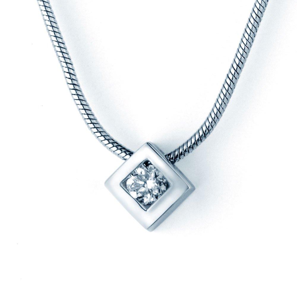 Diamantanhänger Rhombus Small in 14K Weißgold, ohne Kette online kaufen