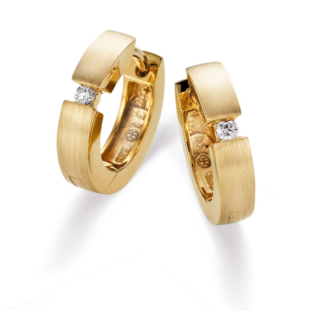 Große Diamant-Creolen in 14K Gelbgold online kaufen
