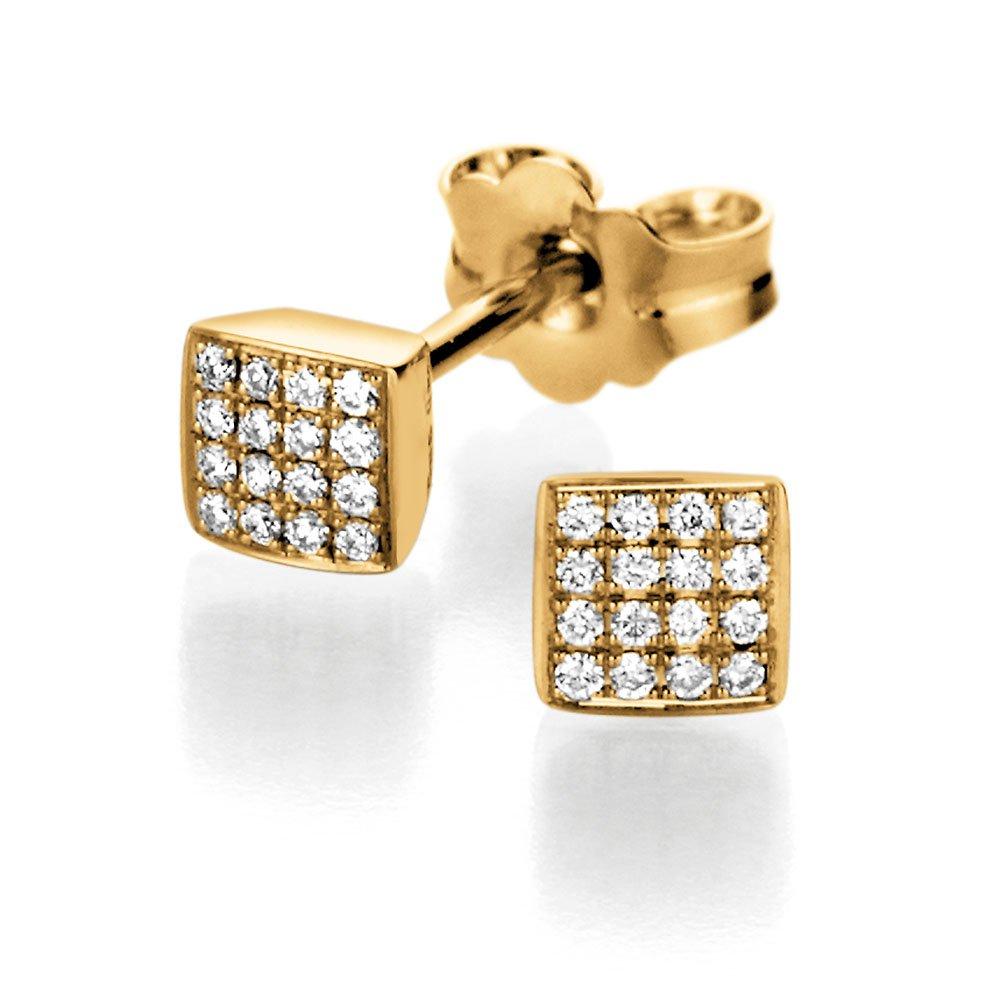 Gold-Ohrstecker Sparkling Square in 14K Gelbgold online kaufen