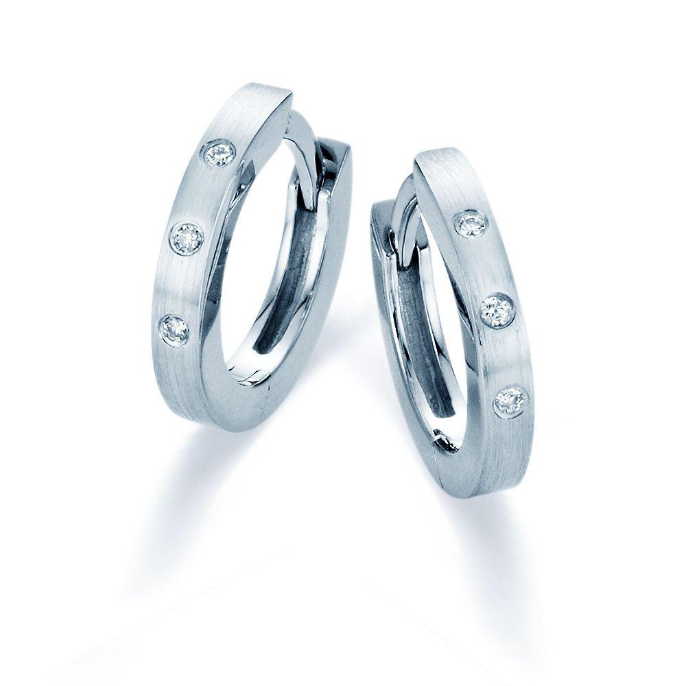 Diamant-Creolen in 14K Weißgold online kaufen