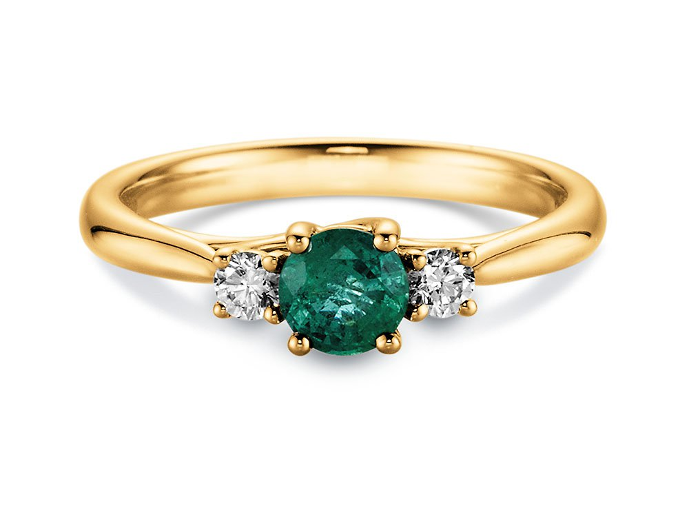 Smaragdring Shining Emerald in 14K Gelbgold online kaufen