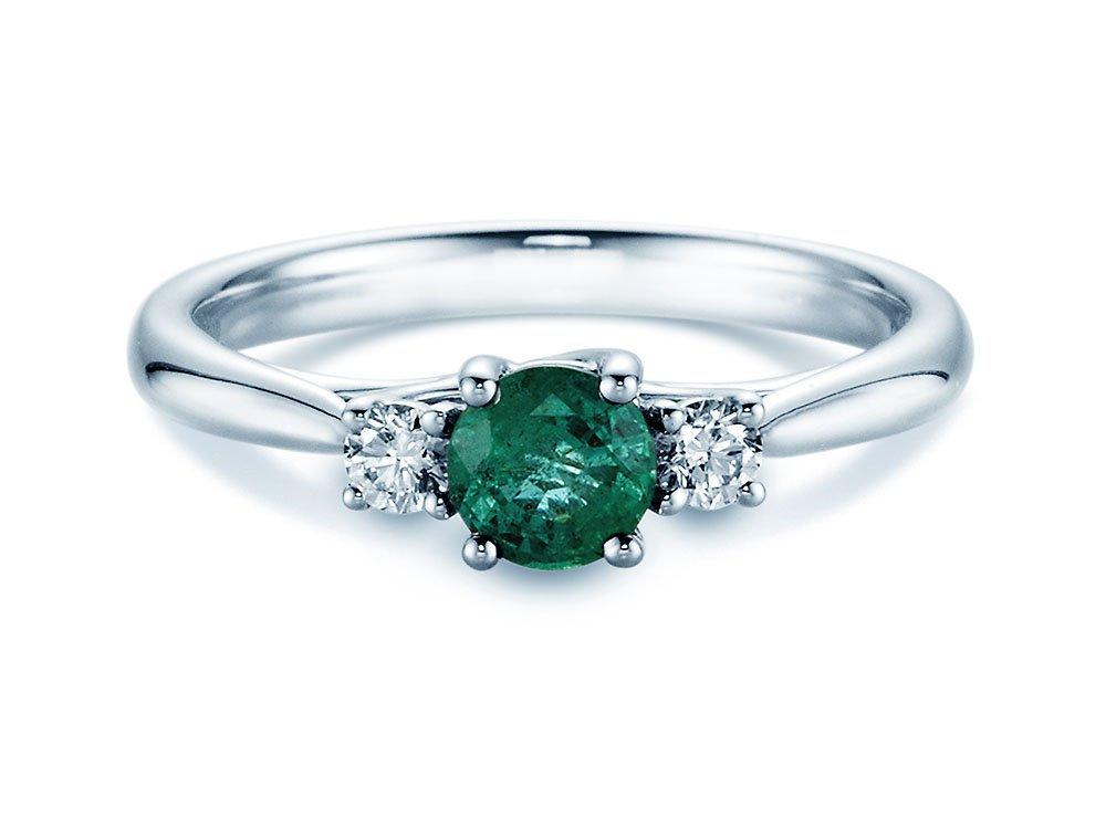Smaragdring Shining Emerald in 14K Weißgold online kaufen