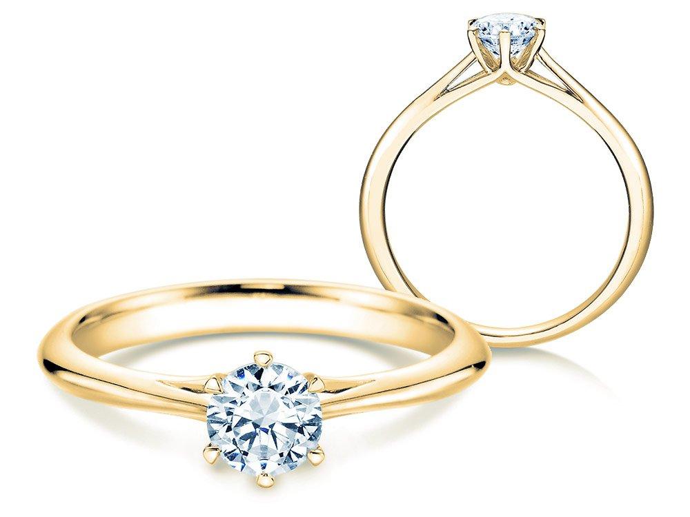 Solitärring Heaven 6 in 14K Gelbgold mit Diamant 0,50ct H/SI online kaufen