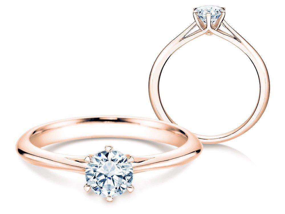 Solitärring Heaven 6 in 14K Roségold mit Diamant 0,50ct H/SI online kaufen