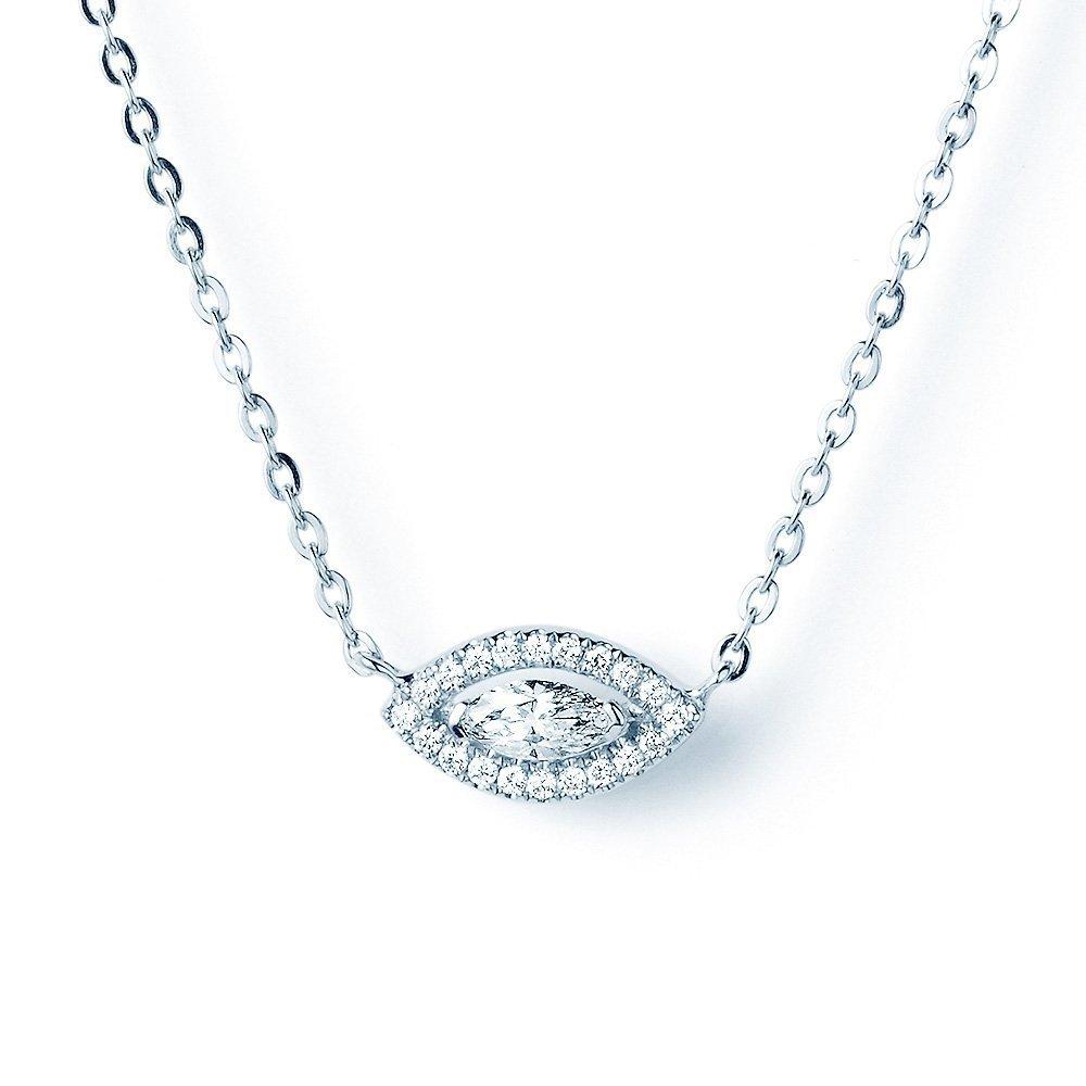 Collier Nazars Eye in 18K Weißgold mit Diamant 0,23ct online kaufen