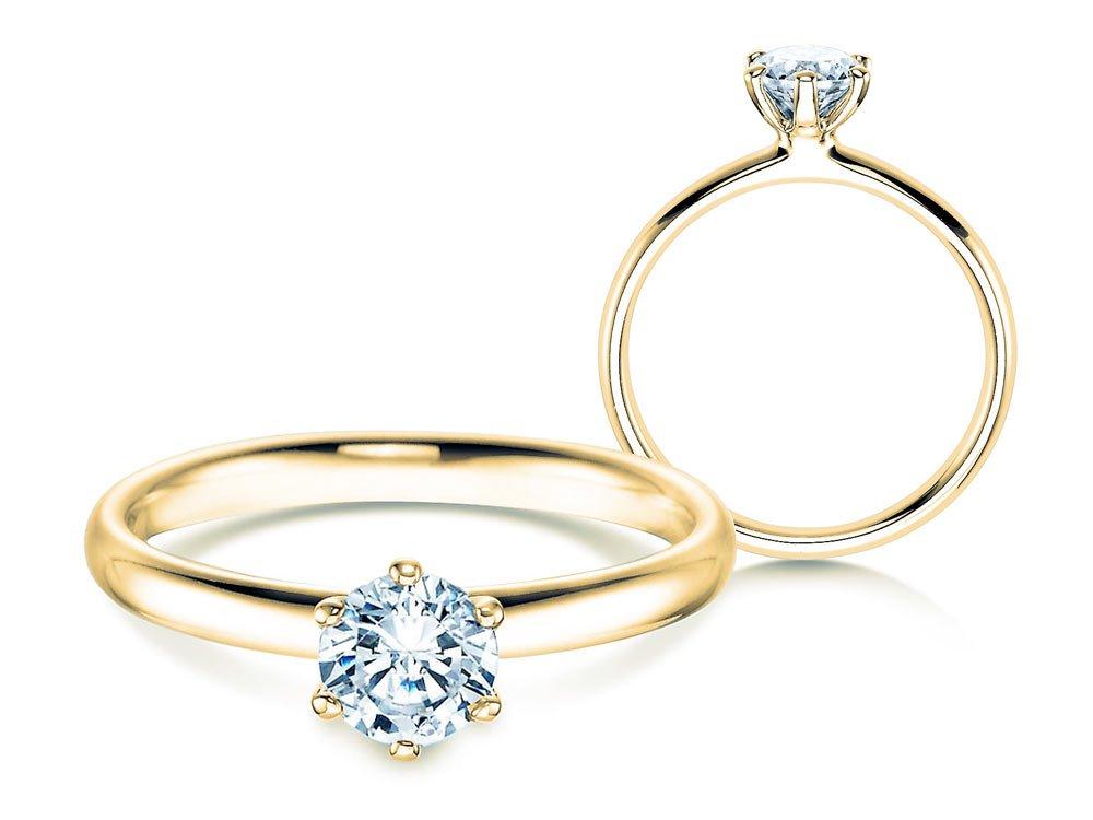 Verlobungsring Classic in 18K Gelbgold mit Diamant 0,60ct H/SI online kaufen