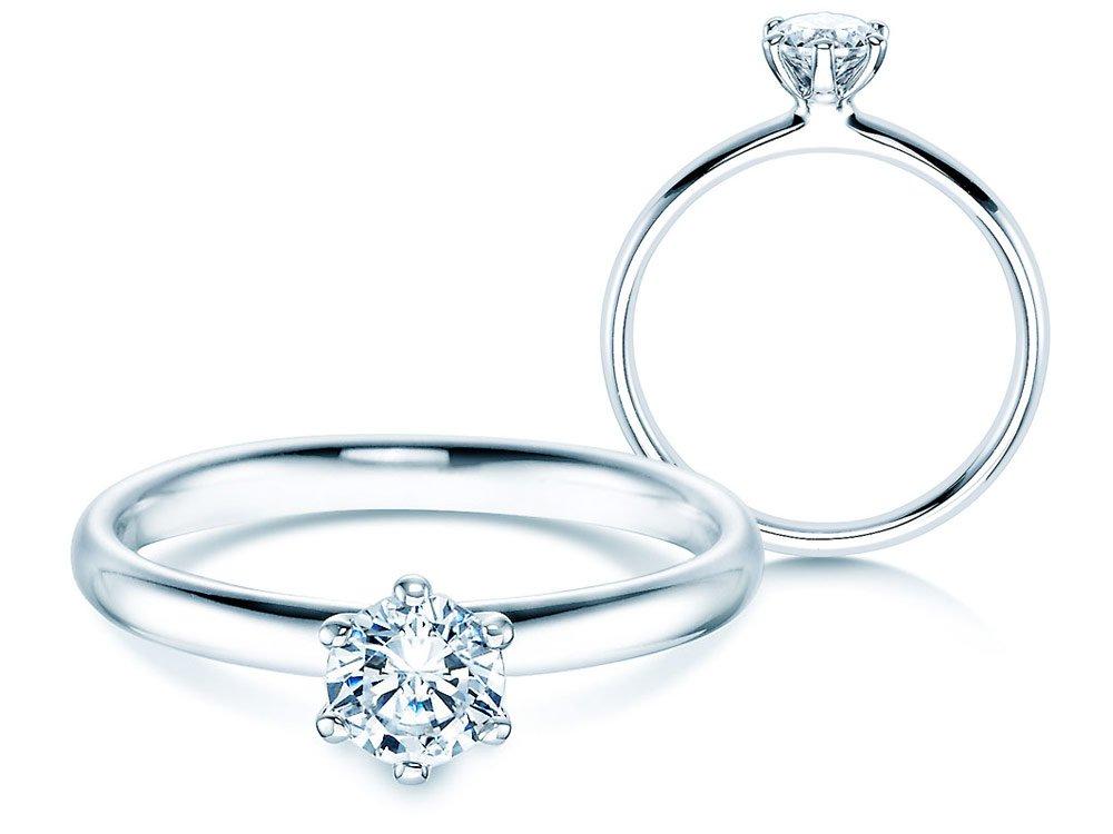 Verlobungsring Classic in 18K Weißgold mit Diamant 0,50ct H/SI online kaufen