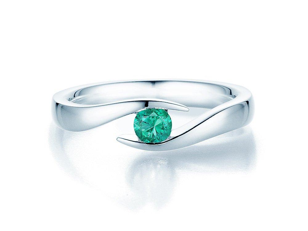Smaragdring Twist in Silber online kaufen