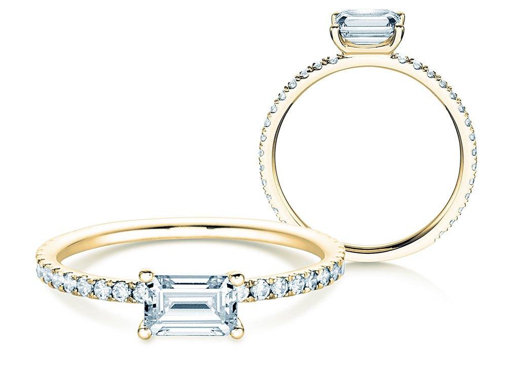 Verlobungsring Emerald-Cut in 18K Gelbgold mit Diamant 0,80ct online kaufen