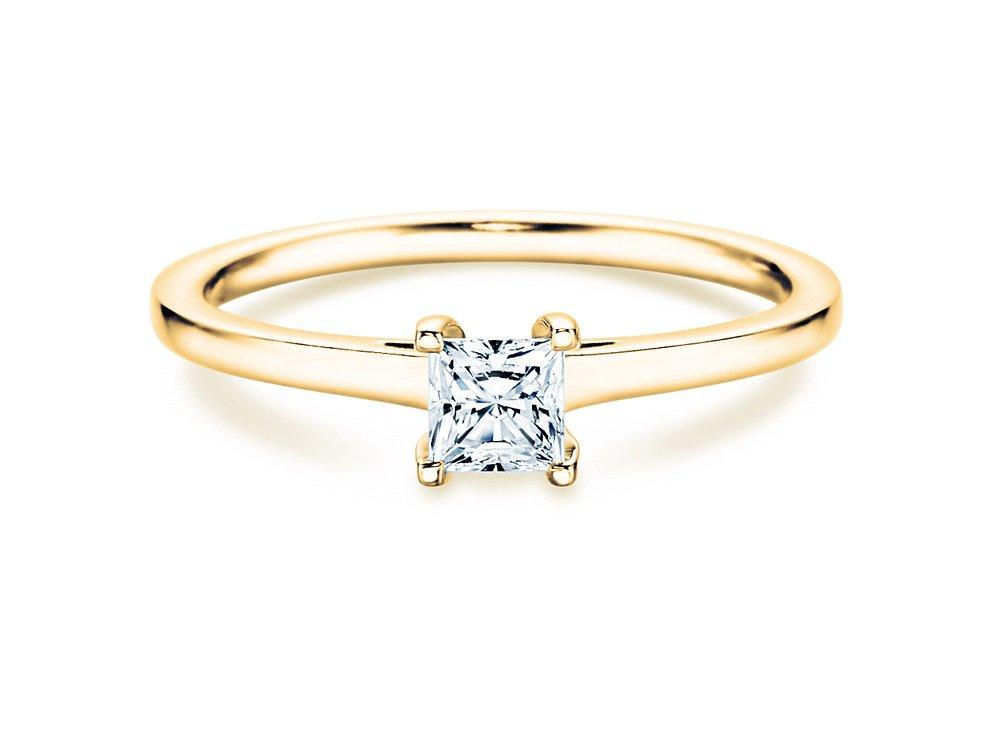 Solitärring Princess in Gelbgold online kaufen