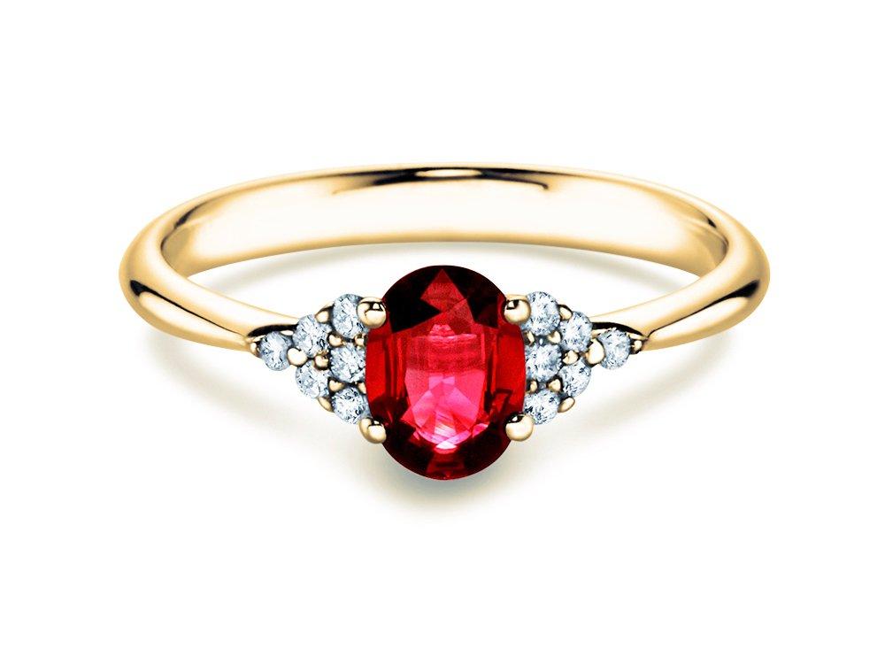 Rubinring Glory 1,00ct in 14K Gelbgold mit Diamant 0,12ct online kaufen