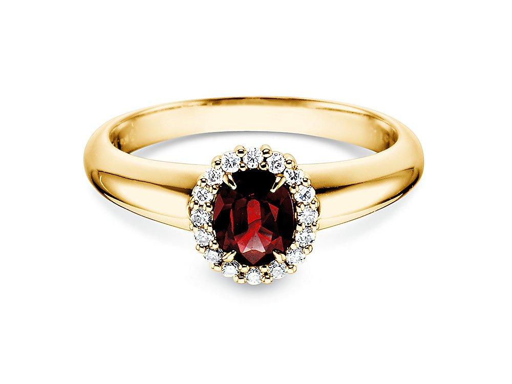 Rubinring Windsor in 14K Gelbgold mit Diamanten 0,12ct online kaufen