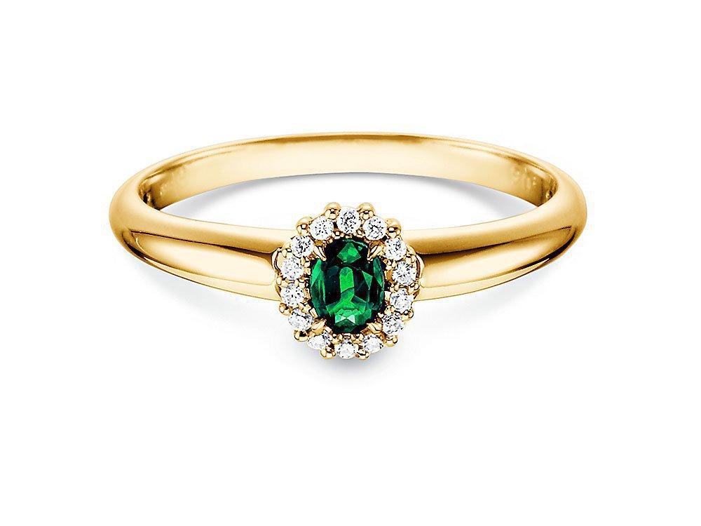 Smaragdring Jolie in 14K Gelbgold mit Diamanten 0,06ct online kaufen