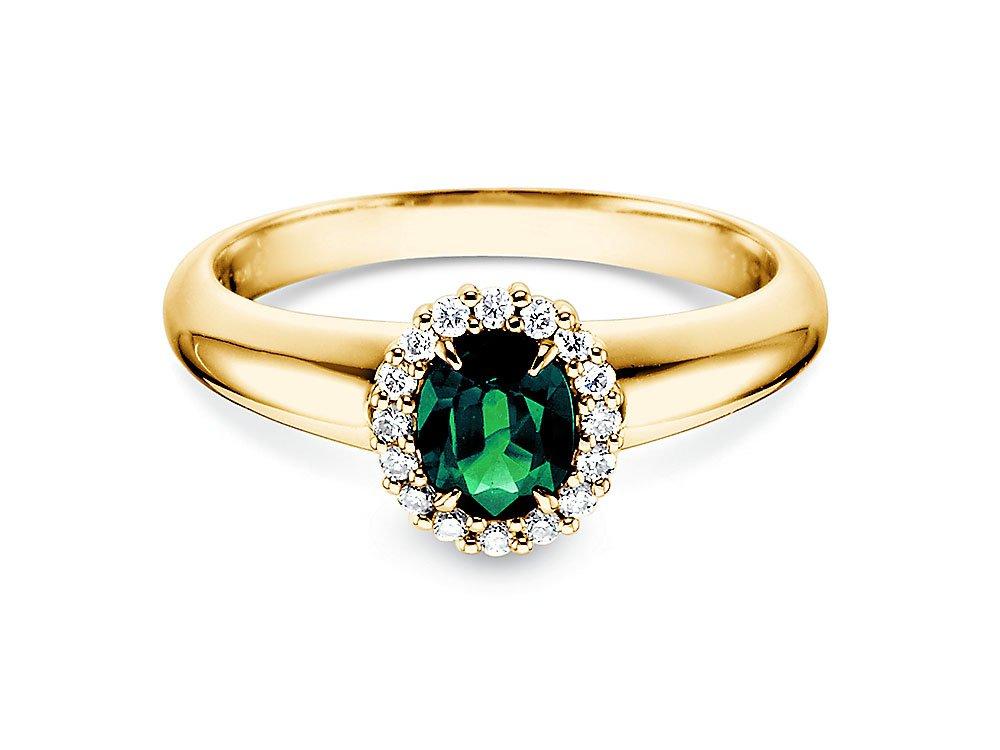 Smaragdring Windsor in 14K Gelbgold mit Diamanten 0,12ct online kaufen