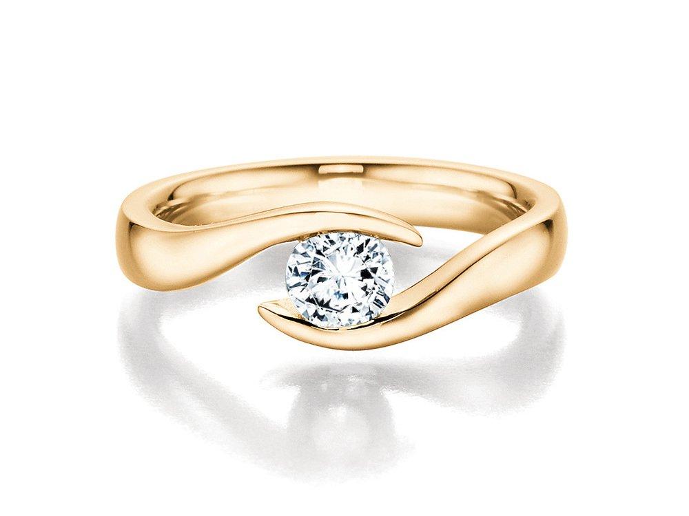 Verlobungsring Twist in 18K Gelbgold mit Diamant 0,40ct H/SI online kaufen