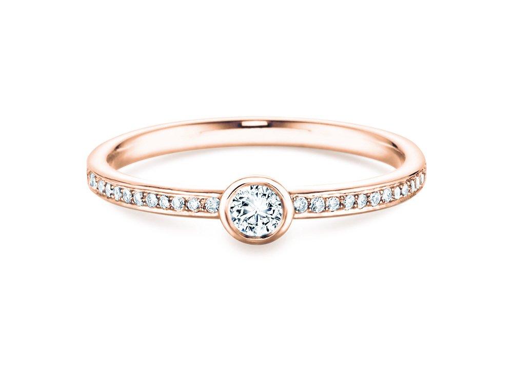 Solitärring Eternal Pavé in 14K Roségold mit Diamant 0,70ct online kaufen