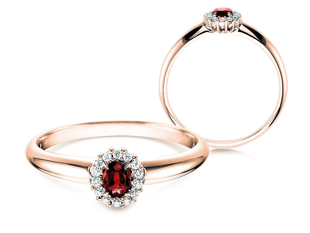 Rubinring Jolie in 14K Roségold mit Diamanten 0,06ct online kaufen