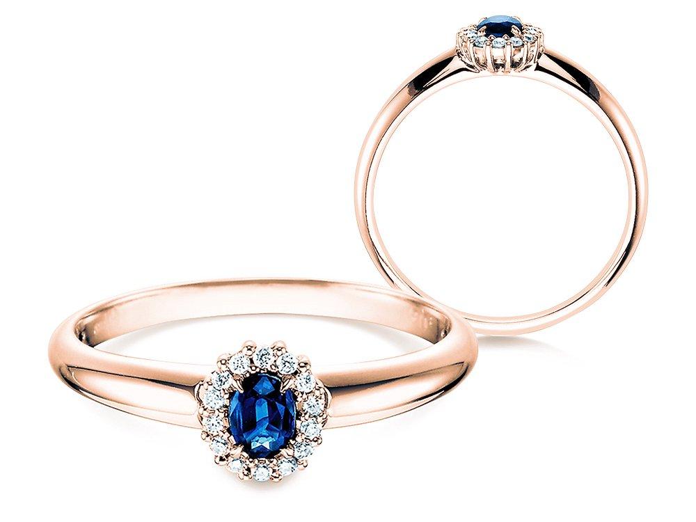 Saphir-Verlobungsring Jolie in Roségold mit Diamanten 0,06ct online kaufen