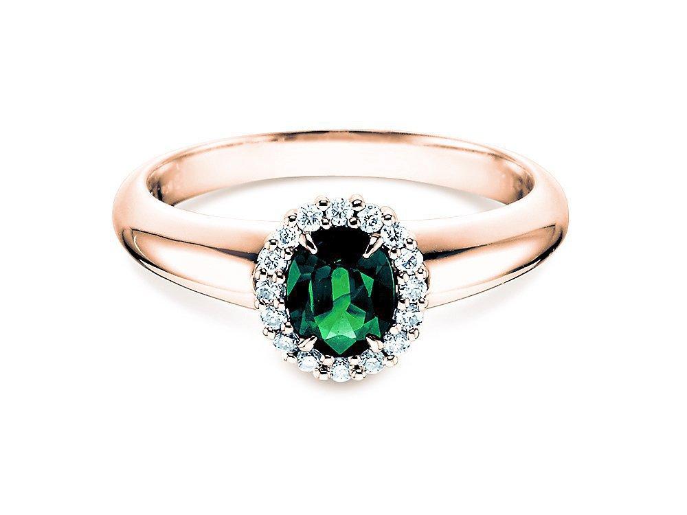Smaragdring Windsor in 14K Roségold mit Diamanten 0,12ct online kaufen