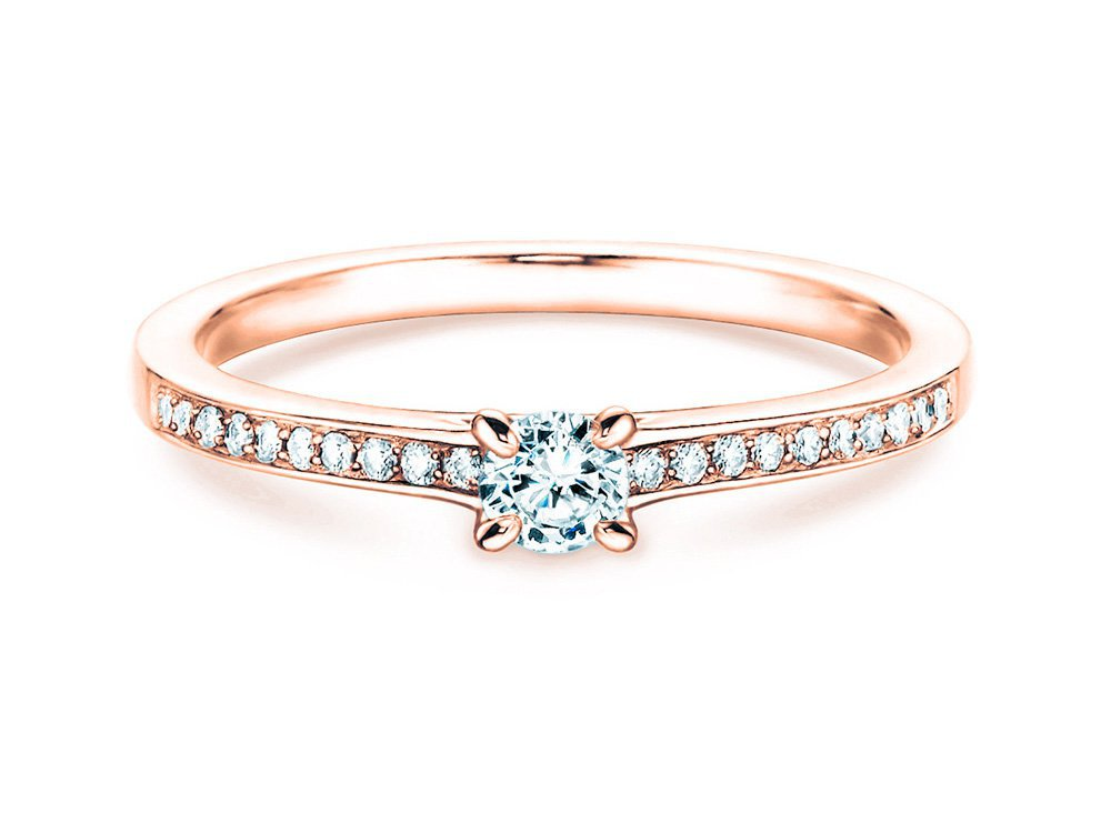 Verlobungsring Modern Pavé in 18K Roségold mit Diamant 0,15ct online kaufen