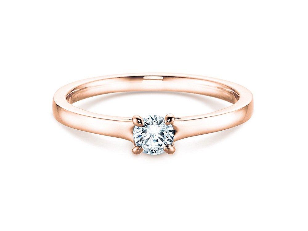 Verlobungsring Modern in 18K Roségold mit Diamant 0,25ct H/SI online kaufen