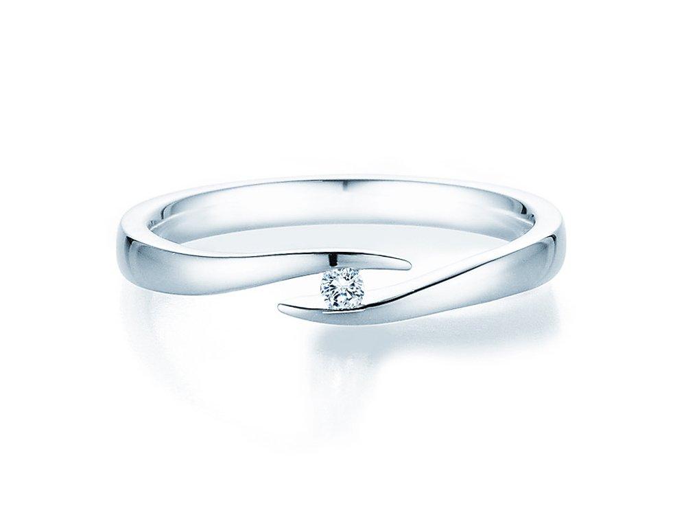 Verlobungsring Twist in Silber mit Diamant 0,03ct G/SI online kaufen