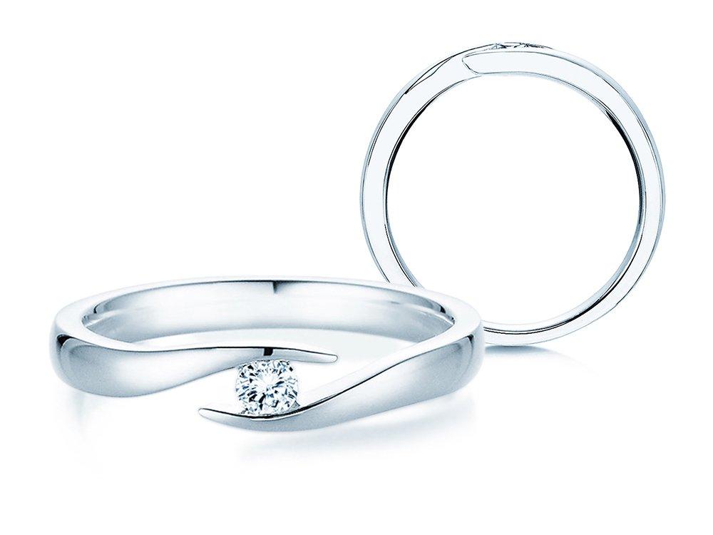 Verlobungsring Twist in Silber und Diamant 0,10ct G/SI online kaufen
