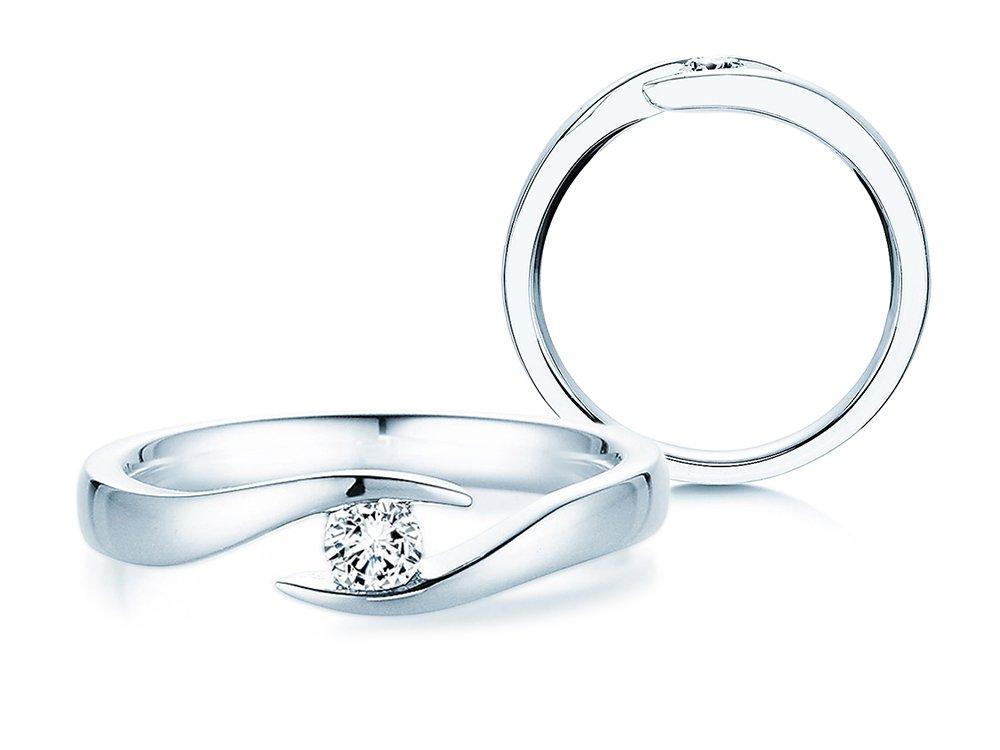 Verlobungsring Twist in Silber mit Diamant 0,15ct G/SI online kaufen