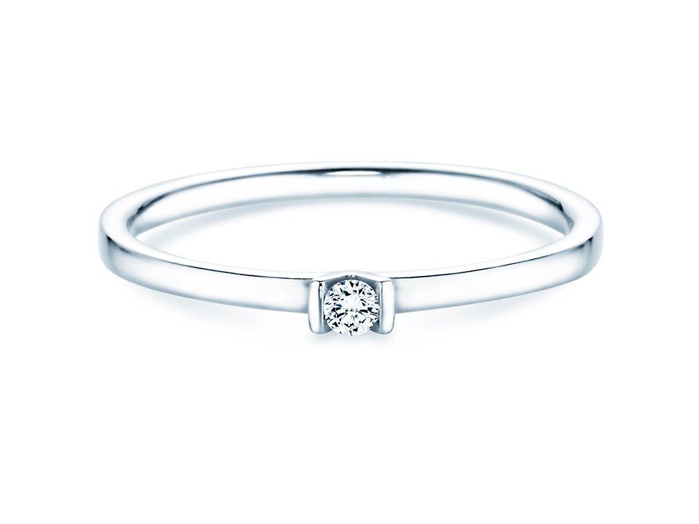 Solitärring Love in Weißgold mit Diamant 0,04ct online kaufen