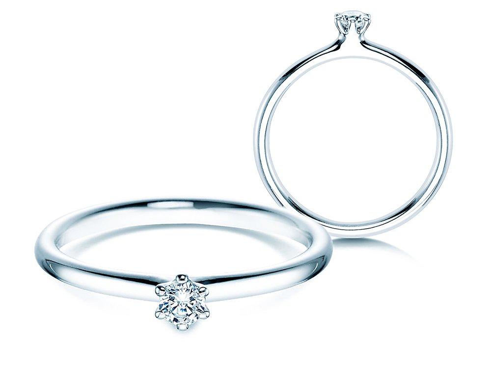 Verlobungsring Classic in 14K Weißgold mit Diamant 0,10ct G/SI online kaufen