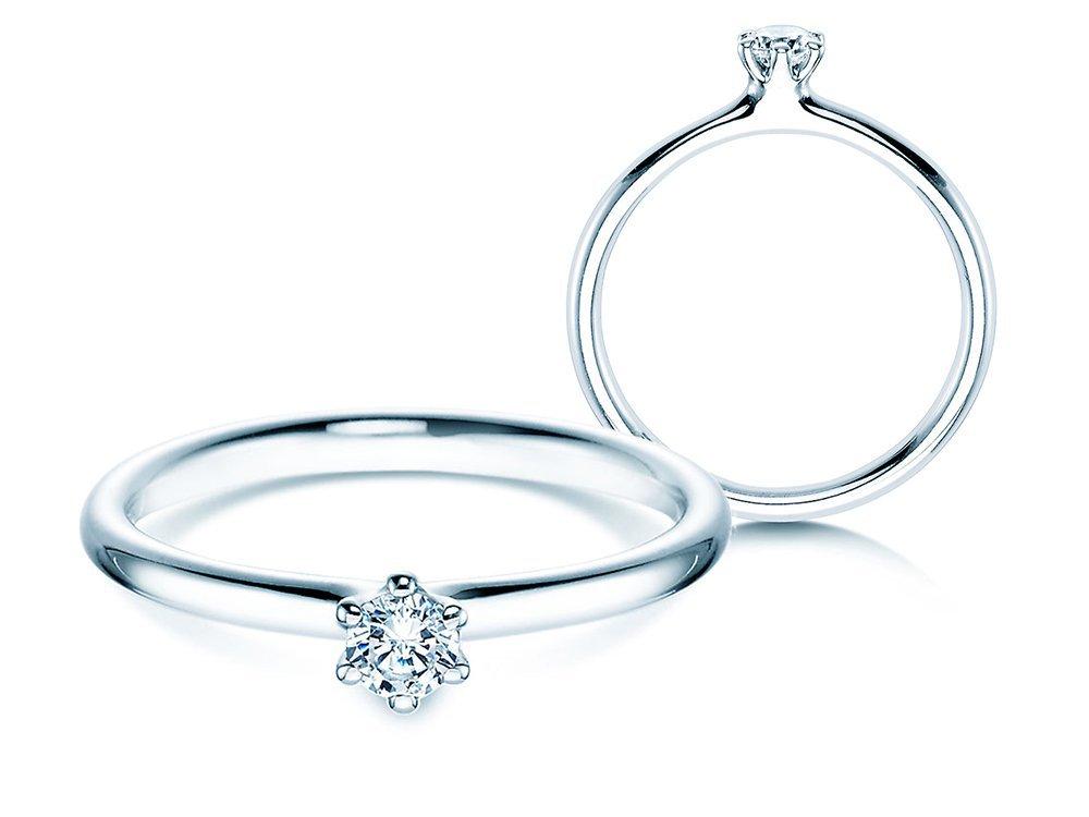Verlobungsring Classic in 14K Weißgold mit Diamant 0,15ct G/SI online kaufen