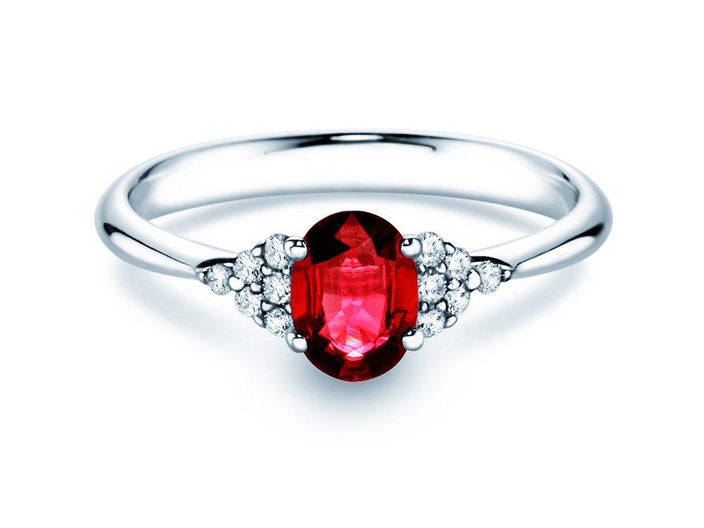 Rubinring Glory 1,00ct in 14K Weißgold mit Diamant 0,12ct online kaufen