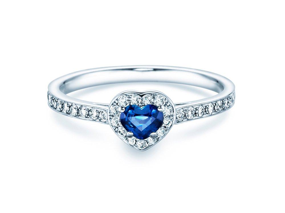 Saphirring Heart in 14K Weißgold mit Saphir und Diamant 0,34 online kaufen