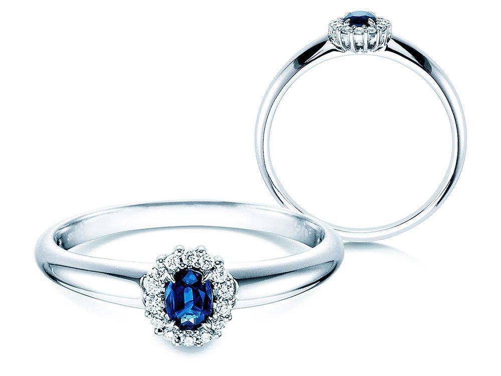 Saphir-Verlobungsring Jolie in 14K Weißgold mit Diamanten 0,06ct online kaufen