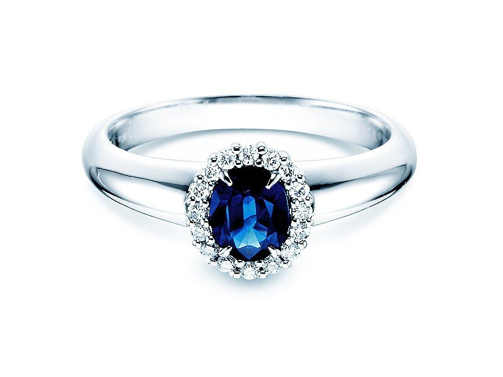 Saphir-Verlobungsring Windsor in 14K Weißgold mit Diamanten 0,12ct online kaufen