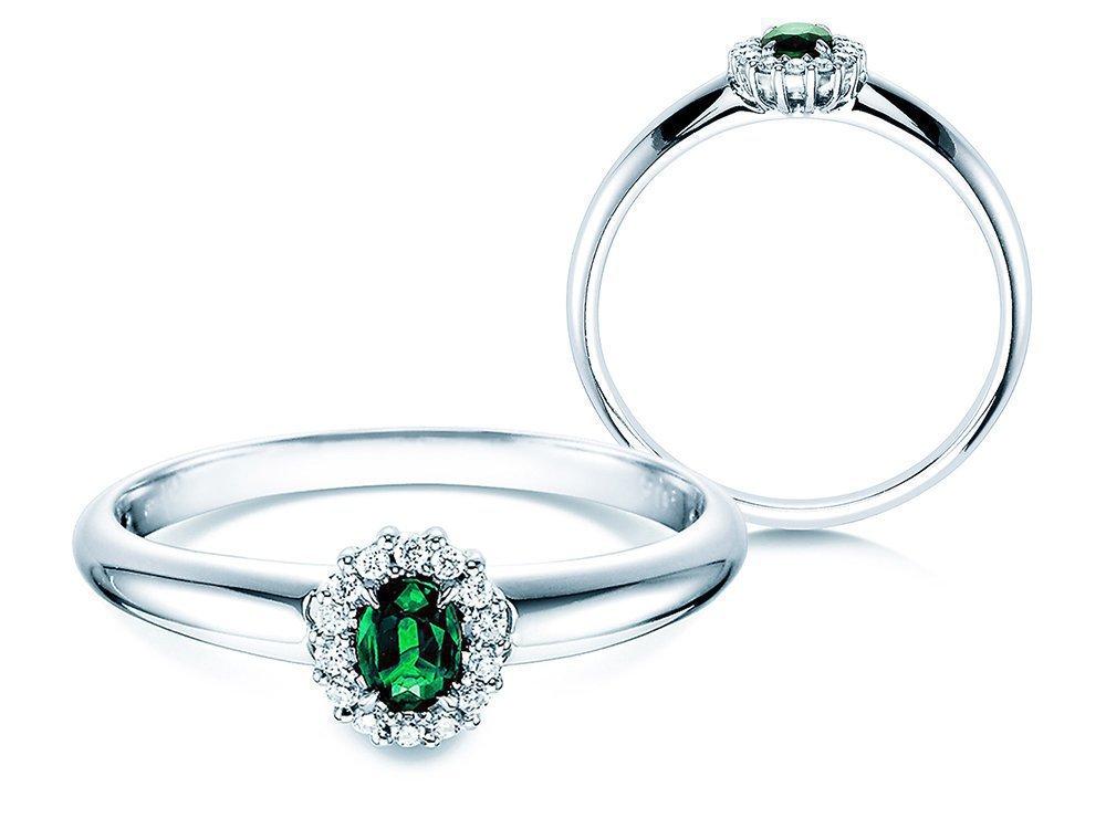 Smaragdring Jolie in 14K Weißgold mit Diamanten 0,06ct online kaufen