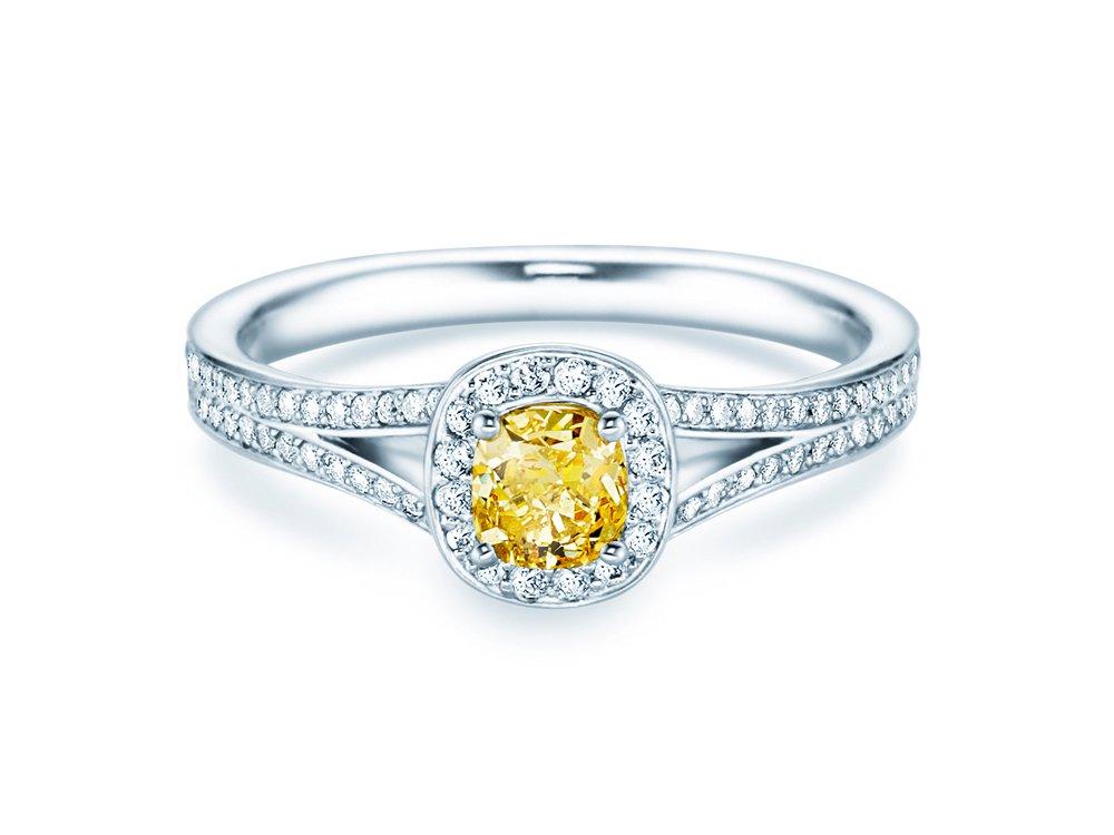 Fancy Yellow Cushion in 18K Weißgold mit Diamant 0,90ct online kaufen