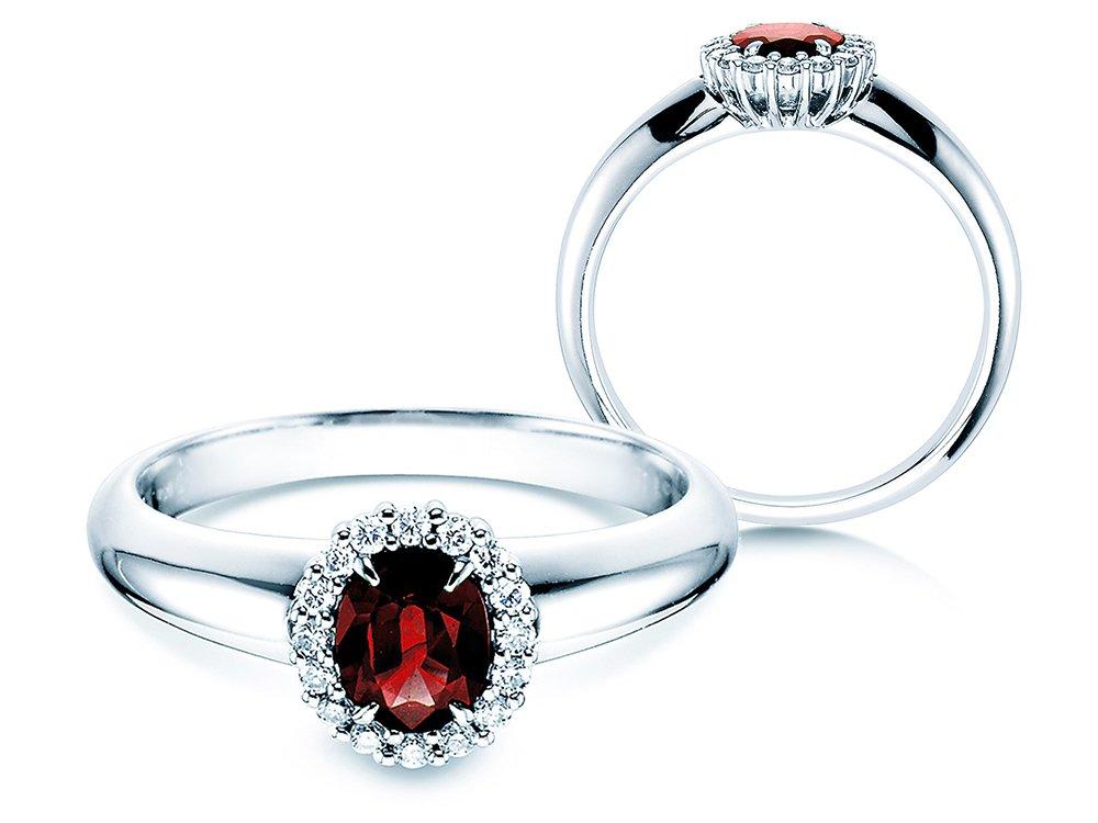 Rubinring Windsor in 18K Weißgold mit Diamanten 0,12ct online kaufen