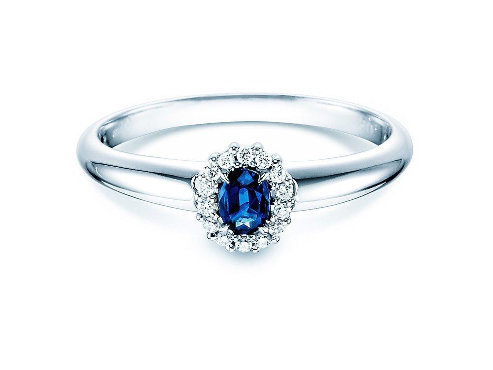 Saphir-Verlobungsring Jolie in 18K Weißgold mit Diamanten 0,06ct online kaufen