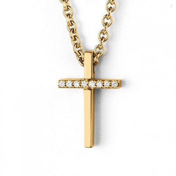 Anhänger Sparkling Cross Small in Gelbgold