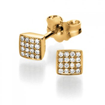 Gold-Ohrstecker Sparkling Square in 14K Gelbgold