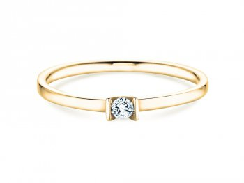 Solitärring Love in Gelbgold mit Diamant 0,04ct