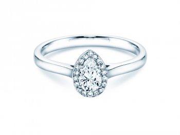 Verlobungsring Pear Shape in Weißgold mit Diamant 0,50ct