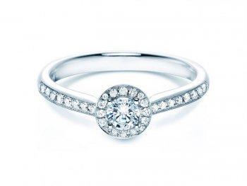 Verlobungsring Halo Petite in 18K Weissgold in Diamant 0,50ct