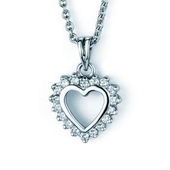 Anhänger Sparkling Flower Heart in Platin