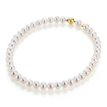 Perlenkette aus Süßwasser Perlen 6,5-7mm mit 18K Gelbgold Kugelschließe