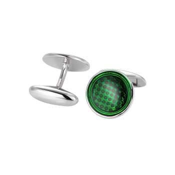 handgefertigte Manschettenknöpfe Dandy in Silber (925/‑), grüner Email-Lack, kostenlose Gravur